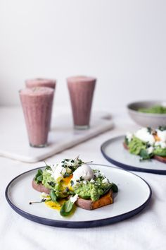 sweet potato toasts with avocado pea mash, feta and eggs