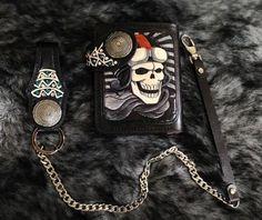 Rider-Череп-мужские-Двойные-байкер-кошелек кошелек подлинным по дереву кожа-ручной-B03