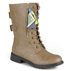 Stand out in stylish combat boots with a zipper pocket from Journee Collection. Durable faux leather uppers rise above the ankles and feature an inside zipper entry. Lace-up detail and a double strap