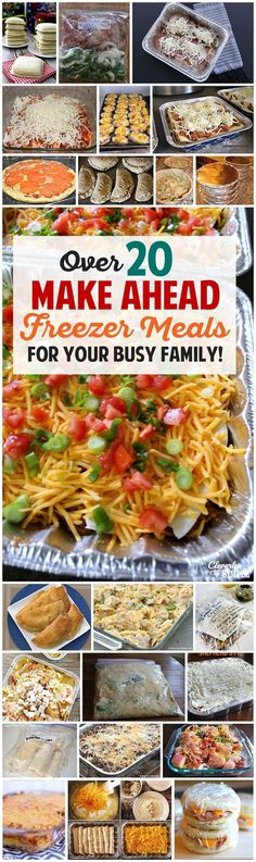 Ahead Freezer Meals Recipes for Your Busy Family! Over 20 awesome freezer meals for busy families. I need to do this so bad!Over 20 awesome freezer meals for busy families. I need to do this so bad! Freezer Friendly Meals, Make Ahead Freezer Meals, Freezer Cooking, Easy Meals, Cheap Meals, Meals To Freeze, Crockpot Freezer Meals, Deep Freeze, Dump Meals