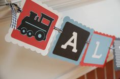 All Aboard Banner, Train Theme, Train Birthday Party, by GiggleBees on Etsy https://www.etsy.com/listing/96345485/all-aboard-banner-train-theme-train