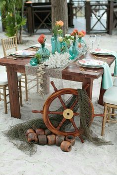 Under the Sea Inspired Wedding Table Decorations + Setting / photo by Tab McCausland Photography Sea Wedding Theme, Wedding List, Beach Wedding Decorations, Sea Theme, Nautical Wedding, Wedding Themes, Wedding Programs, Wedding Ideas, Mermaid Table Decorations