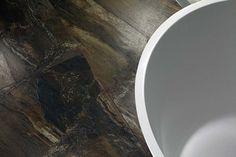 Lovely Tobacco granite effect thin porcelain tiles on the floor of the Porcel-Thin tile studio in London. Non Slip Floor Tiles, Non Slip Bathroom Flooring, Non Slip Flooring, Bathroom Floor Tiles, Marble Floor, Tile Floor, Wood Effect Tiles, Marble Effect, Tiles Direct