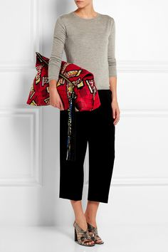 Finds| atelier vlisco | leather trimmed scuba clutch | need it