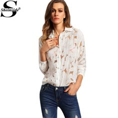 Cheap fashion collage, Buy Quality blouse silk directly from China fashion design blouse Suppliers: Sheinside Office Ladies White Lapel Long Sleeve Buttons Front Sheer Tops Fashion Women Tops 2016 Newest Blouse