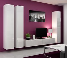 """Seattle 7 Wall units made of high quality materials. Furniture that fits perfectly well into every living room. Total dimensions: Height - 180 cm / 70,9"""" Width - 300 cm / 118,1"""" Depth - 42 cm / 16,5"""""""