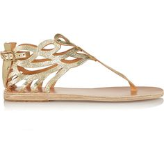 Ancient Greek Sandals Medea cutout leather sandals ($156) ❤ liked on Polyvore featuring shoes, sandals, metallic, cut out sandals, round toe shoes, ankle tie sandals, leather buckle sandals and leather shoes