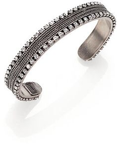 Dannijo Lane Crystal Chain Cuff Bracelet on shopstyle.com Stones And Crystals, Swarovski Crystals, Brass, Women's Fashion, Chain, Detail, Bracelets, Silver, Accessories
