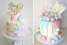 Inspirações para dar a notícia aos amigos em grande estilo! Baby Cakes, Baby Reveal Cakes, Baby Shower Cakes Neutral, Baby Shower Gender Reveal, Cupcakes, Cupcake Cakes, Wedding Dress Cookies, Bebe Shower, Gender Reveal Party Decorations