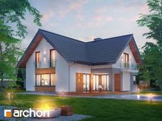 Projekt domu Dom w orszelinach - ARCHON+ Small House Exteriors, Dream House Exterior, New House Plans, Small House Plans, Roof Styles, House Styles, German Houses, Beautiful Modern Homes, Self Build Houses