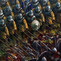 Pikemen in battle