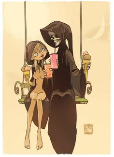 Death & Maiden - by Otto Schmidt.  Death grim reaper Father Time scythe maiden girl woman dance danse macabre skull skeleton