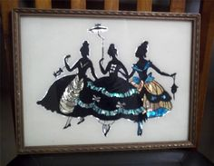 Unique Vintage Silhoutte Style Picture of 3 Sweet Southern Belle's - L@@K