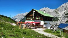 Pfeishütte at 6340ft in the Karwendel Alpine Park was a welcome refuge after a strenuous hike on the mostly rocky high altitude Goethe Trail.    	Innsbruck, Austria