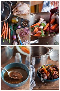 Poulet fermier comme un coq au vin Ingrédients pour 4 à 6 personnes Préparation : 20 min Cuisson : 1H30 environ + Une nuit de repos Ustensile utilisé : le faitout 6l, ou la sauteuse 28cm, ou le wok  Un poulet fermier 6 carottes 6 échalotes 4 c. à soupe d'huile d'olive 100g de jambon cru 35g de cèpes séchés 50cl de bon vin rouge  2 c. à soupe de Cognac ou d'Armagnac  1 c. à soupe de vinaigre de vin vieux 3 à 4 feuilles de laurier 5 gousses d'ail Sel, poivre du moulin