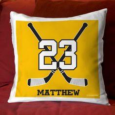 "14"" x 14"" Hockey Pillow Personalized Crossed Sticks"