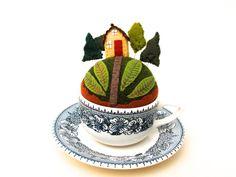 Woodsy Teacup Pincushion.