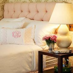 Pink Tufted Headboard, Transitional, bedroom, Kirsten Kelli