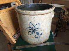 Antique 19th C Stoneware BLUE FLOWER  4 g Gallon Crock  pot