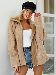 Simplee Double Pocket Zip Up Teddy Coat – GaGodeal Faux Fur Collar, Fur Collars, Teddy Coat, Jackets For Women, Clothes For Women, Color Khaki, Fur Jacket, Fur Coat, Types Of Collars