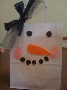 A snowman gift bag.
