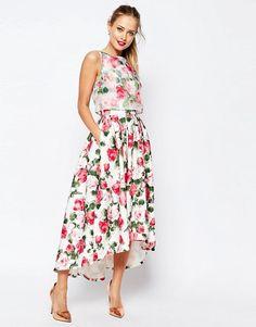 4678 ASOS   Платье миди для выпускного из органзы с укороченным топом ASOS SALON Summer Rose