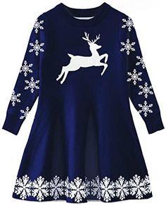 New Idgreatim Little Girls Ugly Christmas Sweater Dress Xmas Long Sleeve Flared Knit Jumper Dresses 2-9 Years reindeer christmas jumper. ($21.99) alltoenjoyshopping Fashion is a popular style