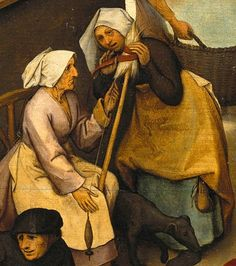 """.:. Detail from The Dutch Proverbs, Pieter Bruegel the Elder One winds on the distaff what the other spins, meaning, """"both spread gossip""""."""