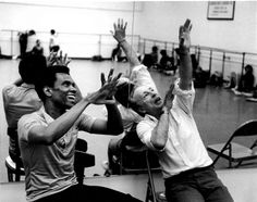 """Happy (one day late) Birthday Mr. Balanchine! """"Straight from the Dance Theatre of Harlem Archive"""" Arthur Mitchell and George Balanchine in the studio rehearsing the Dance Theatre of Harlem company.  Photo: Marbeth"""