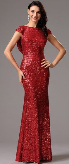 bdad486f Stunning Cowl Back Sequin Red Formal Dress Cocktail Gowns, Red Cocktail  Dress, Evening Cocktail