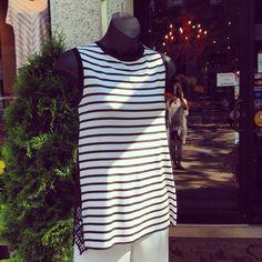 Crochet lace back striped top #jmodefashions