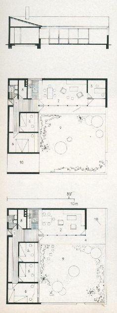 PLANS OF ARCHITECTURE  Jørn Utzon, Kingohusene, Helsingør, Denmark, 1957-1958