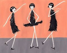 Flappers - Roaring 20's ladies dancing The Charleston - Great Gatsby Movie theme party ideas & inspiration