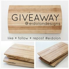We're giving away a hard white maple cutting board on Instagram! Like + Follow + Repost using the hashtag #eidolon. Enter @Eidolon Designs Bamboo Cutting Board, Projects, Instagram, Design, Log Projects, Blue Prints