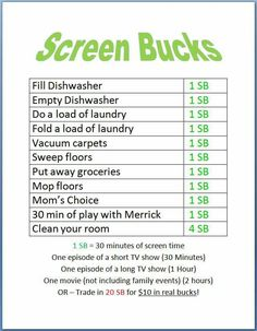 Chores for screen time