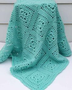 "Baby Puff Square Afghan Crochet Pattern Original Design By Maggie Weldon Intermediate Skill Size: Approximately 42"" square Materials: Light Worsted Weight Yarn: Baby Green (MC) 22ozx, 1500 yds (616 g,"