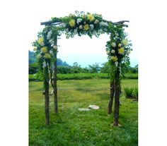 Subtle yellow spider mums & bright gladiolus gently enhance this already stunning, rustic arch.  KBF96
