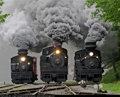 Three Steam Trains