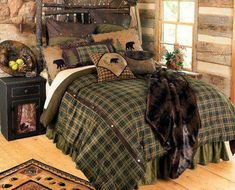 Green plaid and bears bed spread
