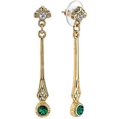 Downton Abbey Silver Tone Simulated Crystal Linear Drop Earrings ($15) ❤ liked on Polyvore featuring jewelry, earrings, green, fake jewelry, drop earrings, crystal jewelry, silvertone earrings and silvertone jewelry