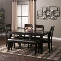 Named after the beautiful wood in which it is constructed, the Mango espresso finish dinette set with bench is crafted to perfection with solid Mango wood that is a very durable hardwood wi… Mango Wood Dining Table, Dining Room Bench, Dining Room Sets, Dining Room Design, Dining Tables, Jerome Furniture, Benches For Sale, Diy Home, Home Decor