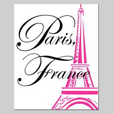 Paris France Eiffel Tower - 8x10 Print with Eiffel Tower Image - Girl Art - Choose Your Colors - Shown in Hot Pink, Black, White, and More on Etsy, $20.00