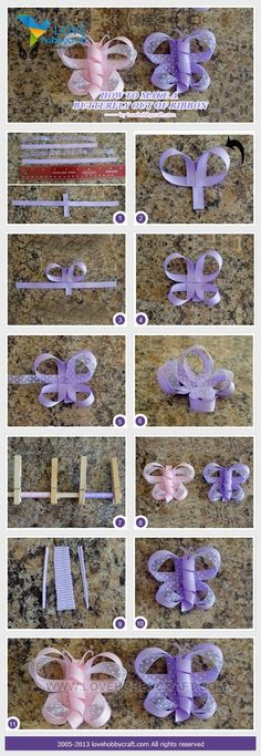 How to make a butterfly out of ribbon   crafts tutorials by Ada123