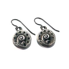 SPRING FERN Antique Button Earrings - Silver