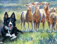 Print Border Collie Sheepdog Sheep Painting  Art Dog #Impressionism