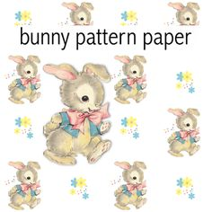 Free digital vintage bunny scrapbooking paper - ausdruckbares Geschenkpapier - freebie | MeinLilaPark – DIY printables and downloads