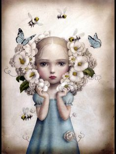 Inflorescence Silk Scarf and Limited Edition Print by Nicoletta Ceccoli / MAE Gallery Editions Art And Illustration, Arte Lowbrow, Mark Ryden, Art Pop, Fantasy Kunst, Fantasy Art, Art Fantaisiste, Arte Sketchbook, Whimsical Art