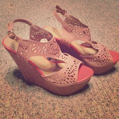 Wedges Never worn adorable wedges! Soft pink on the lacing and bright salmon colors around sole and tip. Super comfortable! Too tight for my wide feet! Shoes