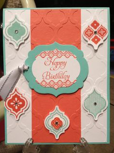 Stampin' Up! Handmade happy birthday card, coastal cabana and calypso coral card stock, mosaic madness embossing folder, punch, and stamps set and labels collection framelits. Come stamp with me! Kristenmkhan@gmail.com