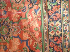 Detail Of The Bottom Linoleum   I Believe This Is A Victorian Era Linoleum    It Has An Oriental Rug Pattern. The Colors Are Intense To Say The Least.